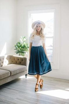 denim a-line skirt with fringe detail