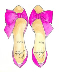 "More illustrations LINE BOTWIN ""girly illustrations "" #chic #fashion #girly #illustration Pink Shoes Fashion Illustration Print"