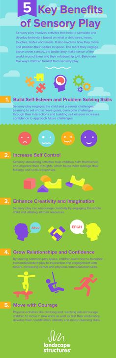 #Kids develop self-esteem, creativity and problem-solving skills from sensory play. Learn more from our #infographic on the 5 Key Benefits of #SensoryPlay.