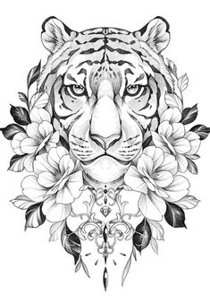 Tattoo Sketches, Tattoo Drawings, Body Art Tattoos, Sleeve Tattoos, Ankle Tattoos, Hand Tattoos, Tiger Tattoo Design, Tattoo Designs, Tiger Sketch