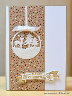 I created this using the Stampin' Up Merry Tags Framelit Dies, Seasonal Bells Stamp Set and Dazzling Diamonds Glimmer Paper.