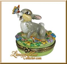 Bambi's Thumper Walt Disney Limoges Box by Artoria.  Rare and Retired Disney Limoges Boxes at www.LimogesBoxCollector.com, Limoges Box Specialists, Limoges gifts, Walt Disney collectibles, gifts for her