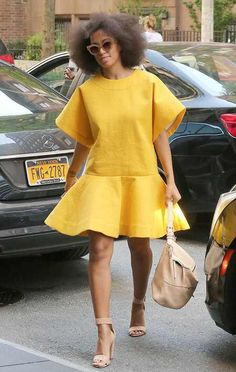 Solange's Yellow Dress, Nude Heels, Hair