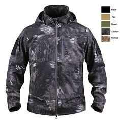 Industrious Mens Waterproof Camo Jacket Hunting Soft Shell Fleece Outerwear Sports & Entertainment Hiking Jackets