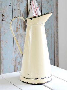 vintage french enamel pitcher by fadedplains on Etsy, $95.00