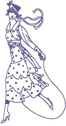 Machine Embroidery Design: Redwork Retro Fashion #5