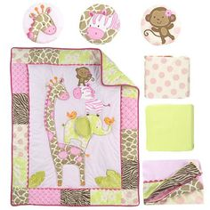 Dress your baby girls nursery in visions of sweet safaris with this Jungle Jill 7-Piece Crib Bedding Set from Carters. Velour and embroidered appliques of a giraffe an elephant a zebra and a monkey perform a balancing act on the soft pink quilt. The set also includes 2 fitted sheets 1 dust ruffle and 3 fabric wall hangings each with its own velour animal applique.