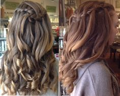 french braided band with curls