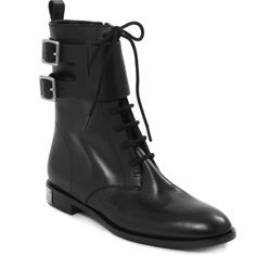 Marc by Marc Jacobs Grove Lace-Up Mid-Boot (32.670 RUB) ❤ liked on Polyvore featuring shoes, boots, ankle booties, black ankle booties, black leather flats, black flats, leather booties and lace up booties