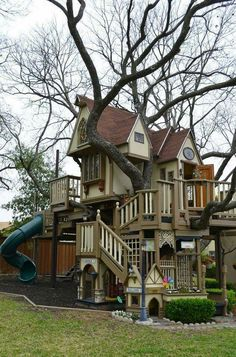 What a Beautiful tree house! Sorry kids! Only adults that wish they could get their childhood back Allow!! Hehe