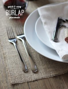 Quick and Easy Burlap Placemats