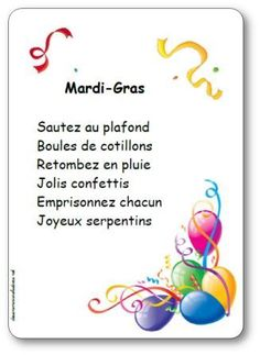 Paroles de la comptine Mardi gras, sautez au plafond : Boules de cotillons, Retombez en pluie, Jolis confettis, Emprisonnez chacun, Joyeux serpentins Mardi Gras Activities, Theme Carnaval, French Classroom, Teaching French, Teacher Hacks, Learn French, Carnival, Messages, Songs