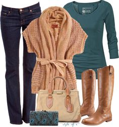"""""""Tan Wrap Sweater"""" by styleofe on Polyvore"""