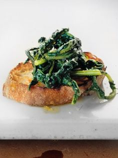 "Crostini – greens SIMPLY DELICIOUS ""Wilted, dressed seasonal greens with a touch of lemon juice are a perfect crostini topping """
