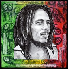 Bob Marley Drawing on Mixed Media Collage by paintersam on Etsy, $325.00