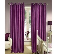 Shop Online Curtains In Purple Heavy Crush Material (set of 2) @ Rs. 399 Only. Buy Curtains online upto 40% Discounts with good quality.