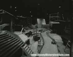 interior photo of Pirates of the Caribbean under construction, from the fall of 1966