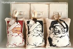 Mini Santa Pillows From the Printer
