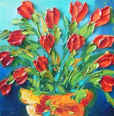 Oil Painting Impasto Painting Red Tulips Art by IronsideImpastos, $95.00