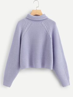 Shop Raglan Sleeve Rolled Up Neck Sweater online. SHEIN offers Raglan Sleeve Rolled Up Neck Sweater & more to fit your fashionable needs. Winter Sweaters, Sweater Weather, Women's Sweaters, Girl Outfits, Cute Outfits, Fashion Outfits, Polka Dot Sweater, Purple Fashion, Mode Hijab