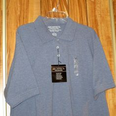 NWT Men's Architect Short Sleeve Blue Cotton Polo Golf Shirt Size Large New #Architect #PoloRugby Now $11.87