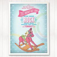 Blue horse print Rock Around The Clock, Girl Posters, Blue Horse, Horse Print, Nursery Art, Baby Kids, Horses, Handmade Gifts, Illustration