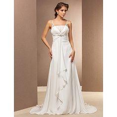 vaina / columna correas espaguetis tribunal tren vestido de novia – USD $ 127.99