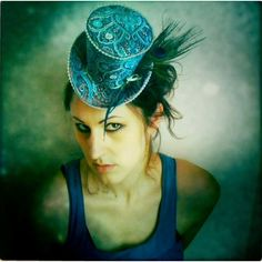 Womens mini top hat, peacock steampunk top hat, holiday party hat,... ($125) ❤ liked on Polyvore