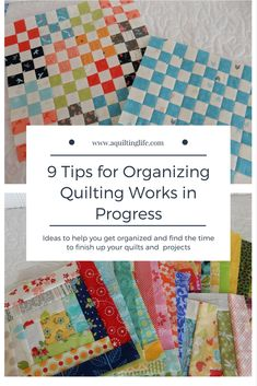 Tips for organizing your quilting works in progress so you can get more finished this year! Quilt Works in Progress Quilting Room, Quilting Tips, Quilting Tutorials, Quilting Projects, Sewing Projects, Sewing Room Organization, Organizing, Quilt Storage, Stitch Book