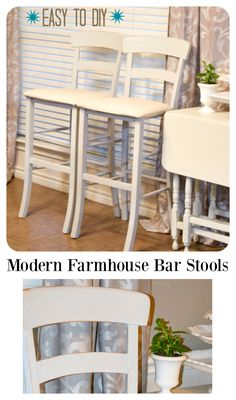 Modern Farm House Barstools. Itching to try a mineral, chalk and water based paint? Try this simple DIY to turn ordinary bar stools into stunning pieces for that modern farmhouse look. #sp
