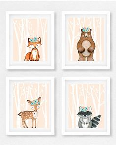 35% off Set of FOUR 8x10 Woodland animal nursery set, Girls room, Fox print, Woodland theme, Baby shower gift, Woodland Decor, Bear picture
