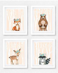 35% off Set of FOUR 8x10 Woodland animal nursery set, Girls room, Fox print, Woodland theme, Baby shower gift, Woodland Decor, Bear picture