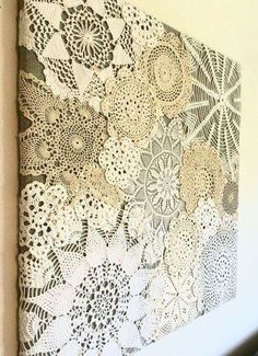 This one of a kind doily collage will add vintage charm to your home! Made with …, Add Cha. : This one of a kind doily collage will add vintage charm to your home! Made with …, Add Charm Collage diyhomedecordollarstore doily home kind Vintage This kind Doilies Crafts, Lace Doilies, Crochet Doilies, Fabric Crafts, Sewing Crafts, Sewing Projects, Craft Projects, Diy Crafts, Framed Doilies