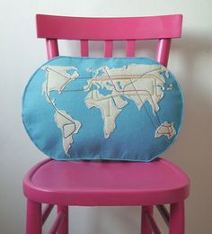 Felt Map Pillow that charts where you've traveled!  MUST MAKE!!!!!