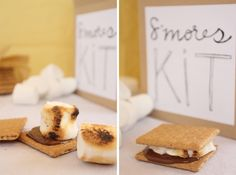 Cute gift idea--make a s'mores kit.  (Free printable labels...low cost, cute, thoughtful.)