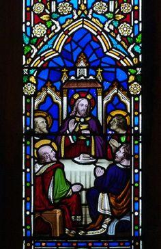 Warter, St James, Gethsemane & Last Supper, detail, by Alexander Gibbs, Last Supper Art, Saint James, Stained Glass, Comic Books, Detail, Comics, Santiago, Cartoons, Cartoons