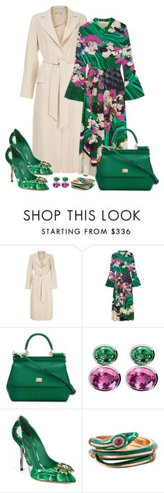 """Mary Katrantzou Desmine Silk Dress Look"" by romaboots-1 ❤ liked on Polyvore featuring Dagmar, Mary Katrantzou, Dolce&Gabbana and Colleen B. Rosenblat"