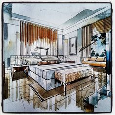 How To Make Home Decoration Items Interior Architecture Drawing, Interior Design Renderings, Drawing Interior, Interior Rendering, Interior Sketch, Interior And Exterior, Architecture Design, Draw Perspective, House Design Drawing