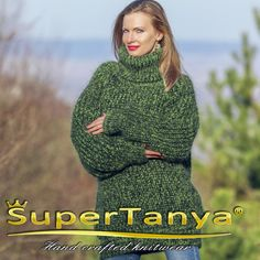 Hand knitted mohair sweater nice green melange by SuperTanya