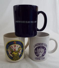 Set of 3 Vintage LAKEWOOD ELKS LODGE 1350 Coffee Mugs Assorted Styles B.P.O.E. #Unbranded