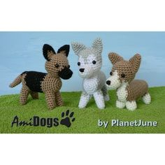 Special Deal  AmiDogs Set 3 3 amigurumi dog PDF by PlanetJune (Craft Supplies & Tools, Patterns & Tutorials, Fiber Arts, Crochet, amigurumi, animal, toy, dog, husky, corgi, german shepherd, puppy, cute, alsatian)