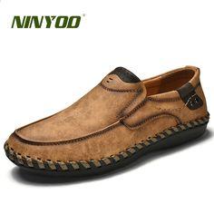 dd67f0f8d99 NINYOO Handmade Brand Shoes Mężczyźni Oryginalne Skórzane Obuwie  Oddychające Mokasyny Buty Slip On Plus Rozmiar 45