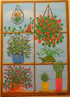 Window Plants 2, Potted Plants, Stained Glass, ACEO Art Card, packrat-2013@ebay