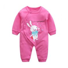 Cotton Cartoon Rabbit Infant Toddler Baby Girl Romper Long Sleeve 3-18Months Plain Pink