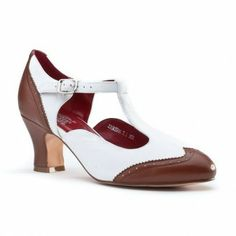 """Item: """"23 Skidoo"""" Spectator T-Strap Shoes.  Vendor: American Duchess.  Price: $120.00. Reproduction 1920's women's T-strap spectator shoes"""