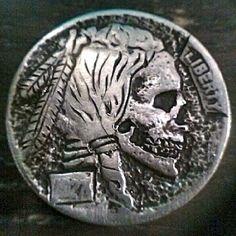 DONALD JENKINS HOBO NICKEL - SKULL - 1927 BUFFALO PROFILE Hobo Nickel, Logo Design, Graphic Design, Paper Cutting, Skulls, Buffalo, Carving, Profile, Logos
