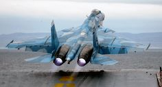 Russian Navy Sukhoi Su-33 fighter jet aircraft. #sukhoi #su33 #aviation #aircraft #russia #russian #navy #advanced #tactical #fighter #fighterjet #supersonicaircraft #airsuperiority #aircraftcarrier #camouflage #afterburners #takeoff