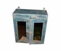 lief badkamerkastje old look blauw handgemaakt uit india . in de, Deco ideeën