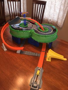 Hot Wheels birthday cake I made for my son's 8th birthday!