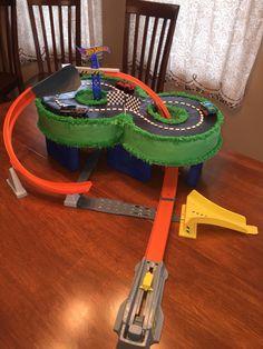 Hot Wheels birthday cake I made for my son's 8th birthday!